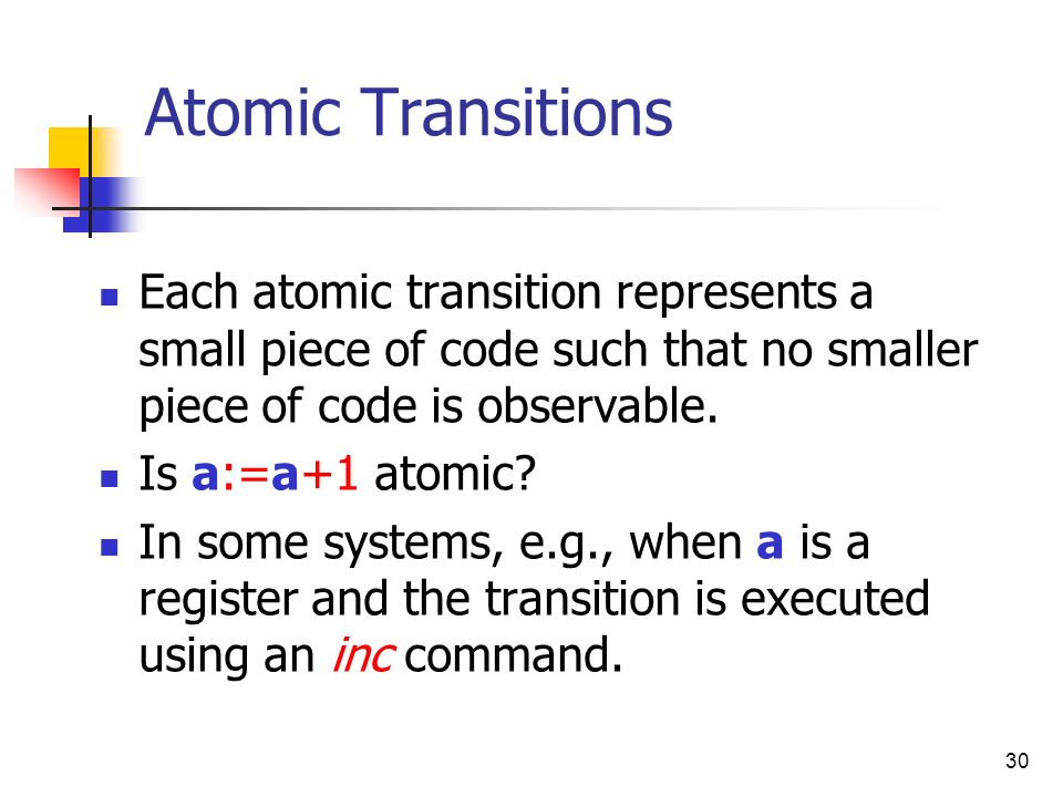 Atomic Transitions Each atomic transition represents a small piece of code such that no smaller piece of code is observable.