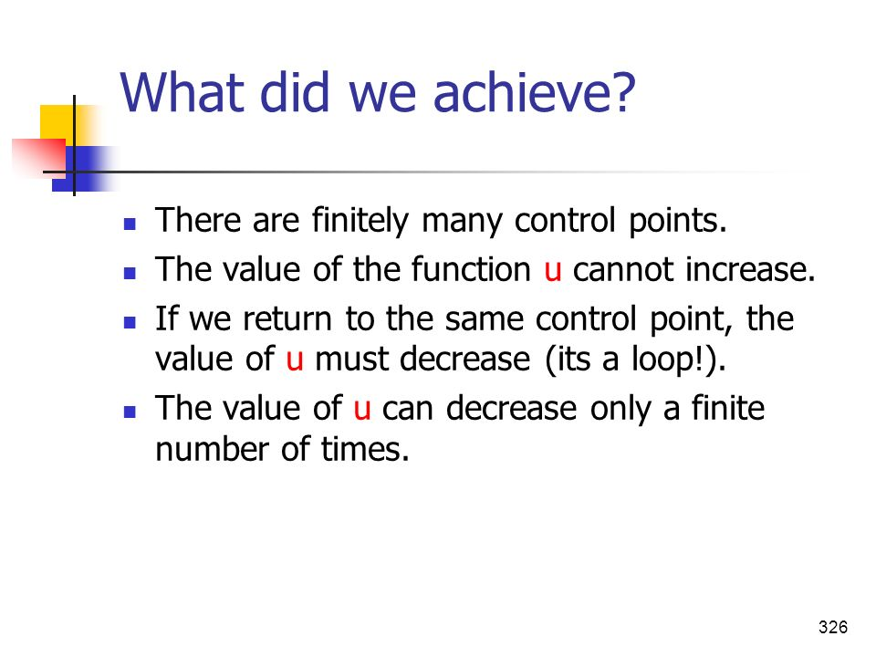 What did we achieve There are finitely many control points.