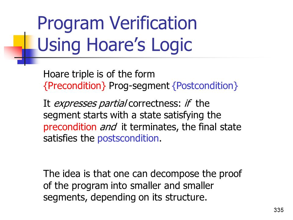 Program Verification Using Hoare's Logic