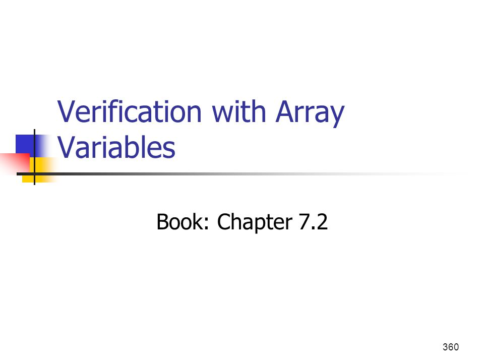 Verification with Array Variables