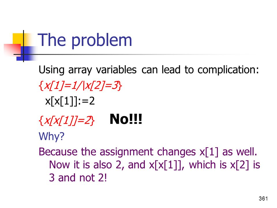 The problem Using array variables can lead to complication: