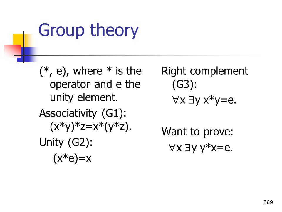 Group theory (*, e), where * is the operator and e the unity element.