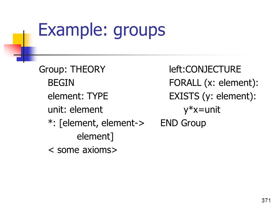 Example: groups Group: THEORY BEGIN element: TYPE unit: element
