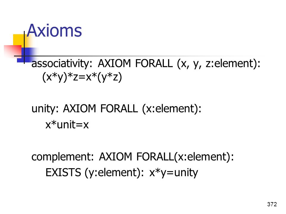 Axioms associativity: AXIOM FORALL (x, y, z:element): (x*y)*z=x*(y*z)