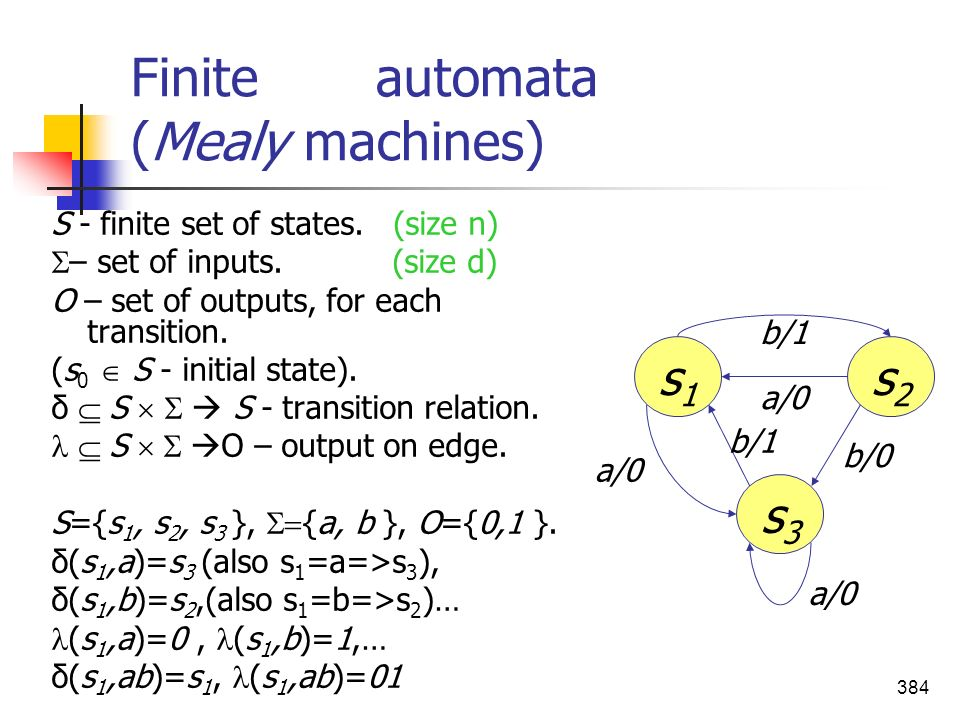Finite automata (Mealy machines)