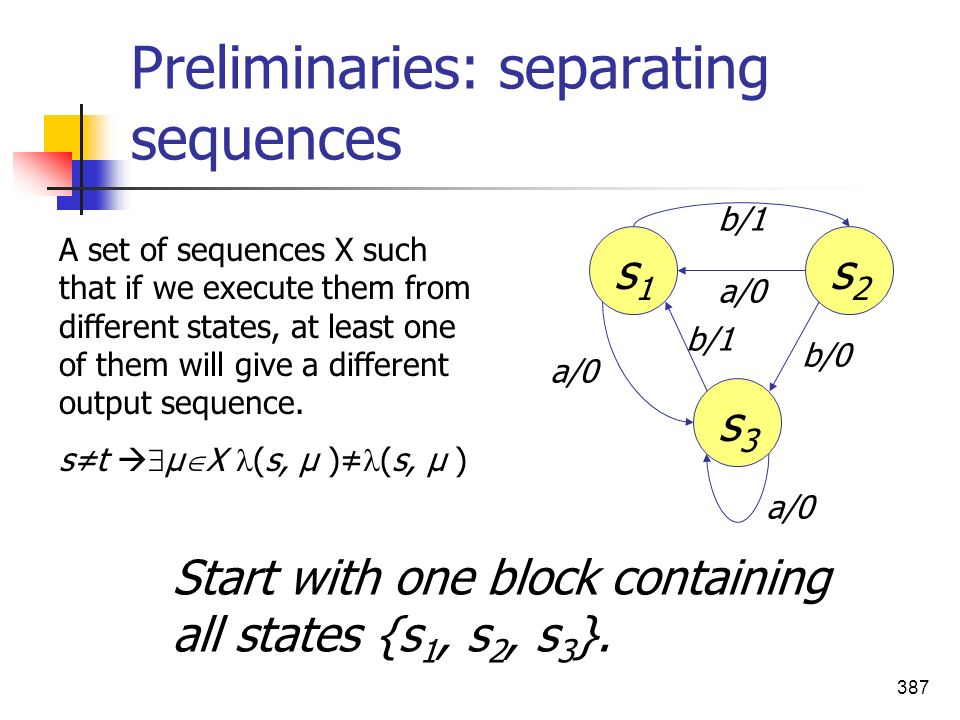 Preliminaries: separating sequences