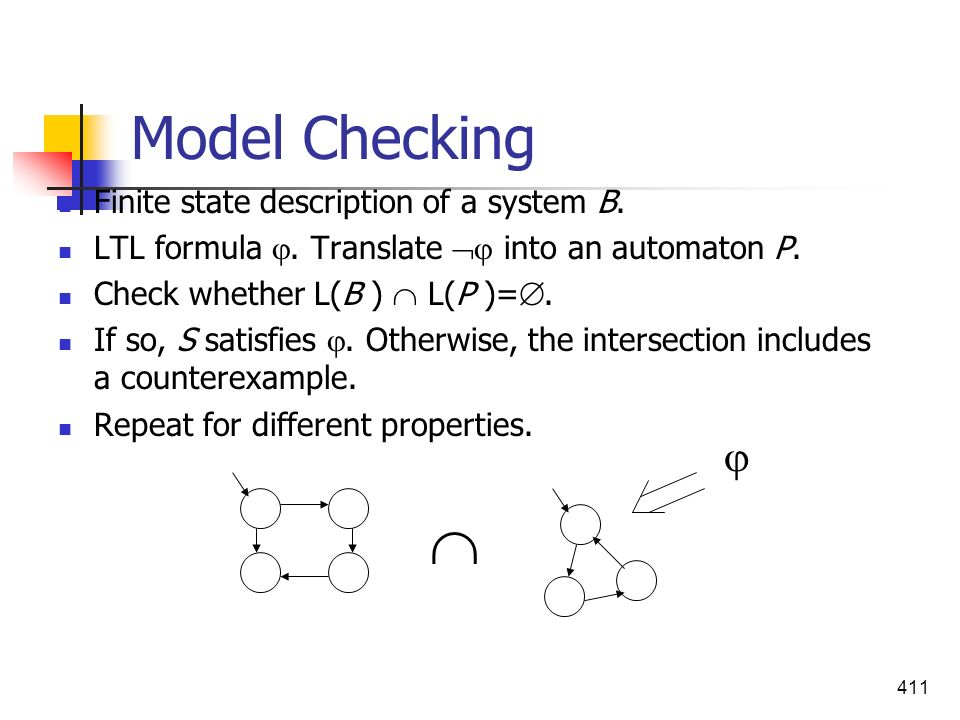  Model Checking  Finite state description of a system B.