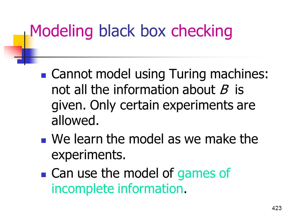 Modeling black box checking
