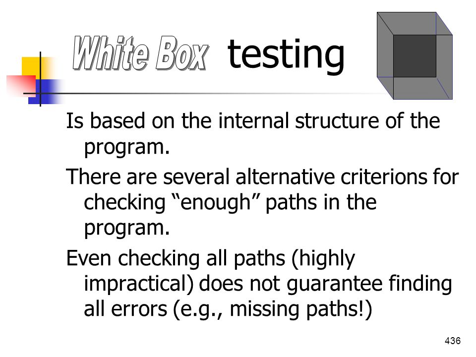 testing White Box Is based on the internal structure of the program.