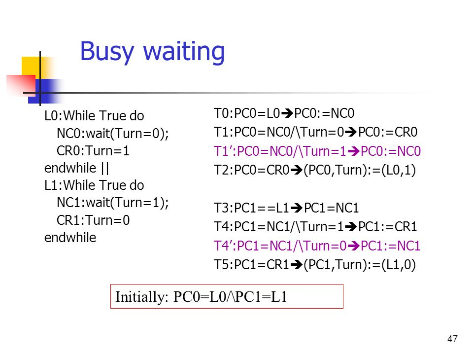 Busy waiting Initially: PC0=L0/\PC1=L1 T0:PC0=L0PC0:=NC0
