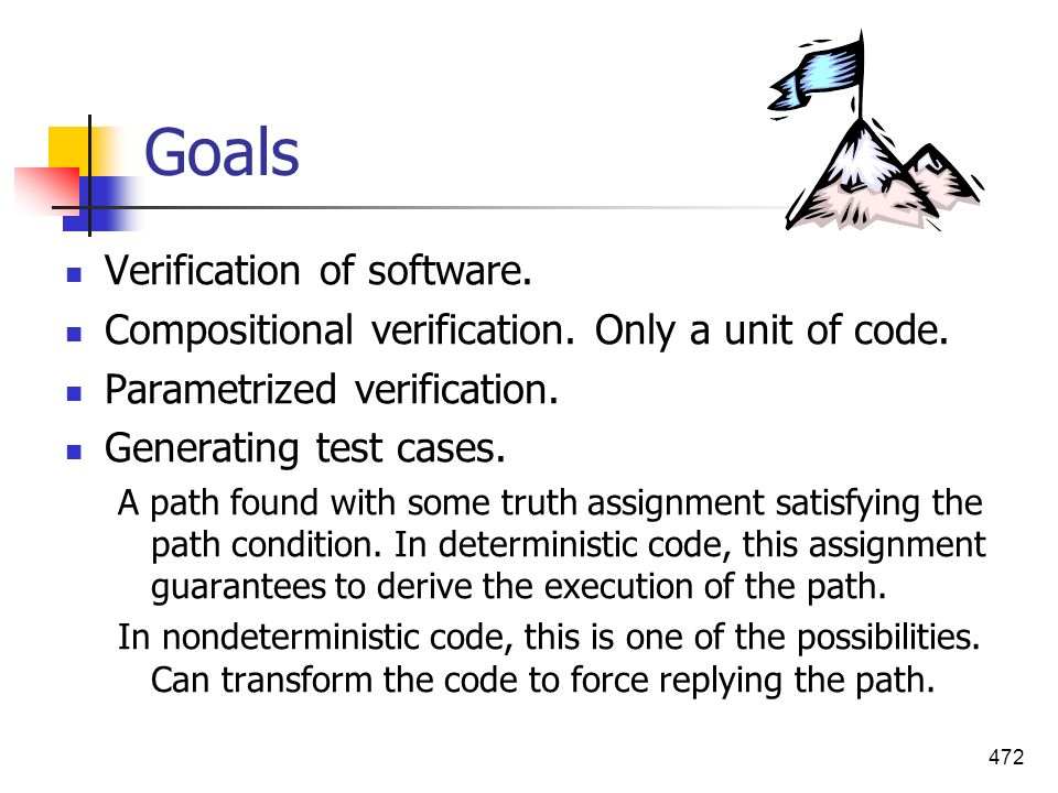 Goals Verification of software.