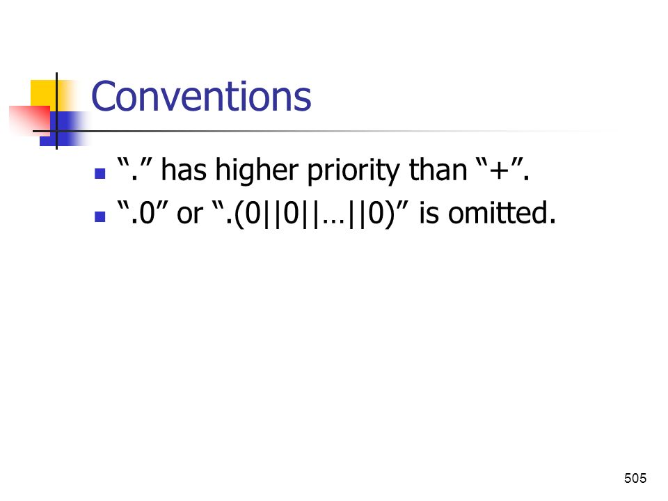 Conventions . has higher priority than + .
