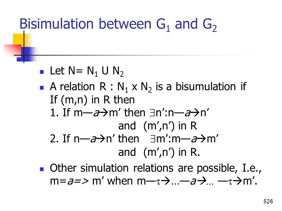 Bisimulation between G1 and G2