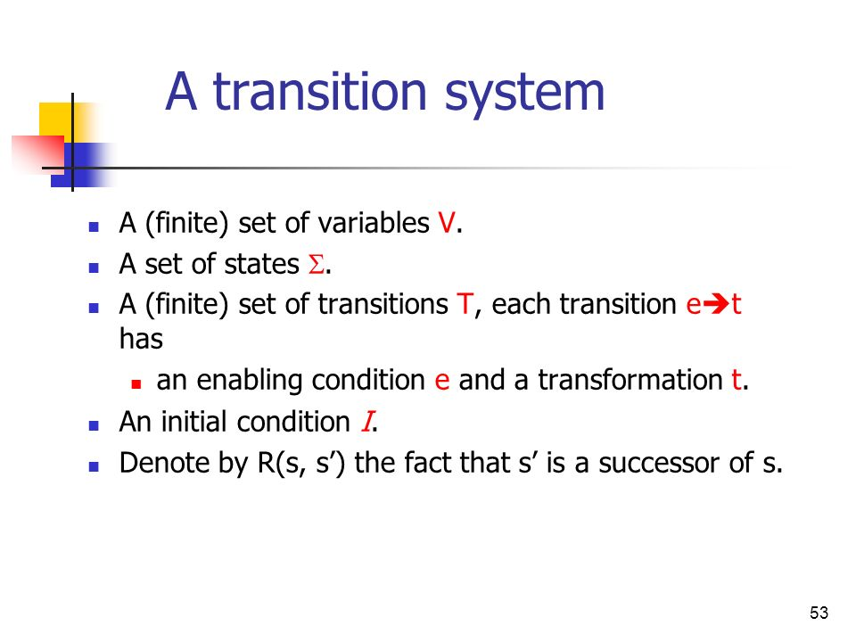 A transition system A (finite) set of variables V. A set of states .