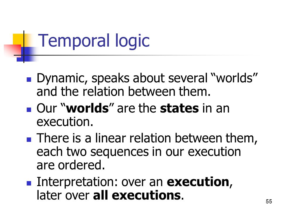 Temporal logic Dynamic, speaks about several worlds and the relation between them. Our worlds are the states in an execution.