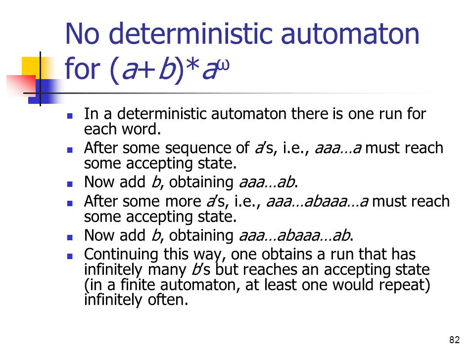 No deterministic automaton for (a+b)*aω
