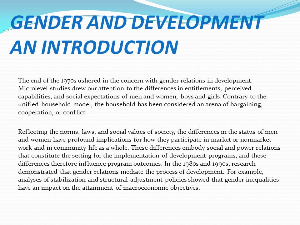 Women in development vs gender and