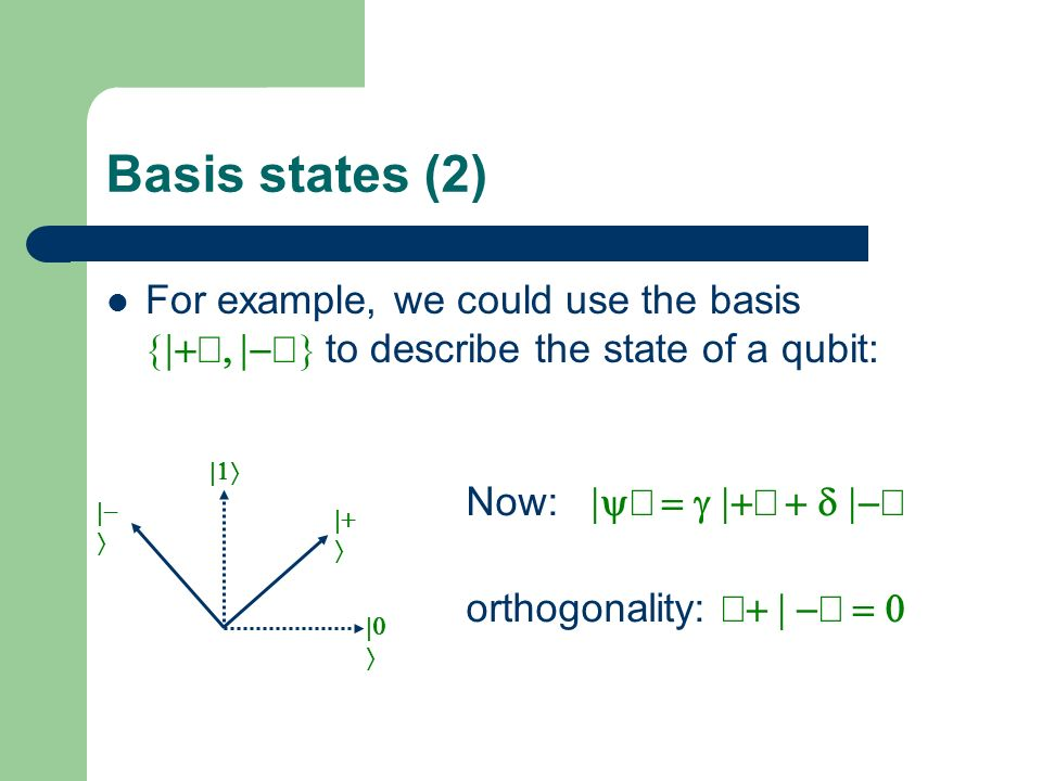 Basis states (2) For example, we could use the basis {|+ñ, |-ñ} to describe the state of a qubit: |1ñ.