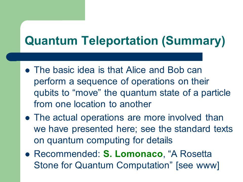 Quantum Teleportation (Summary)