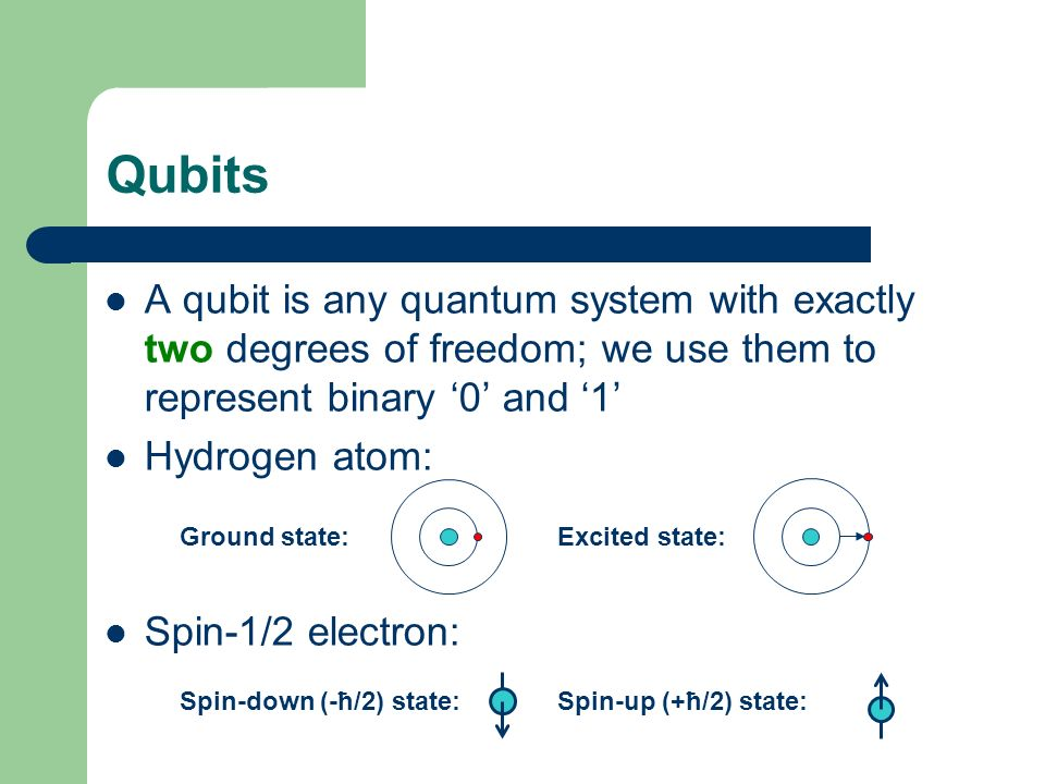 Qubits A qubit is any quantum system with exactly two degrees of freedom; we use them to represent binary '0' and '1'