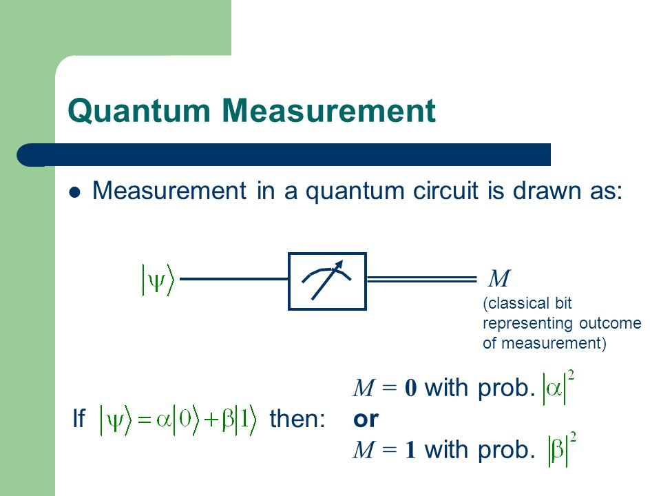 Quantum Measurement Measurement in a quantum circuit is drawn as: M