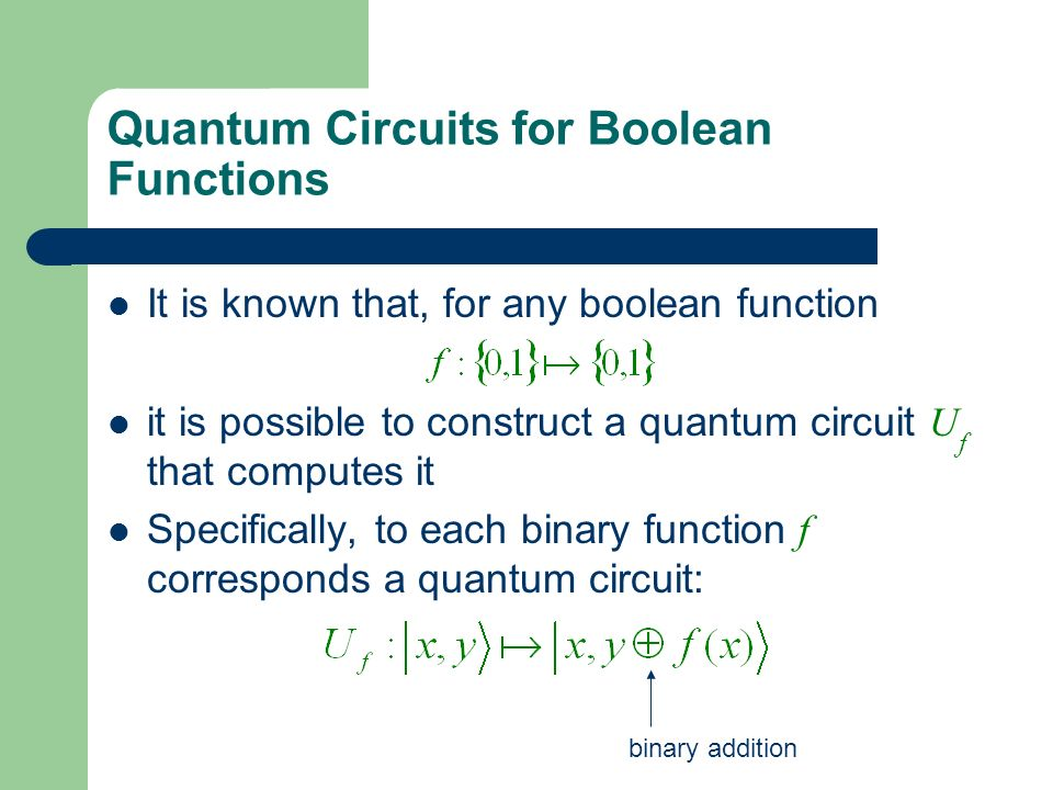Quantum Circuits for Boolean Functions