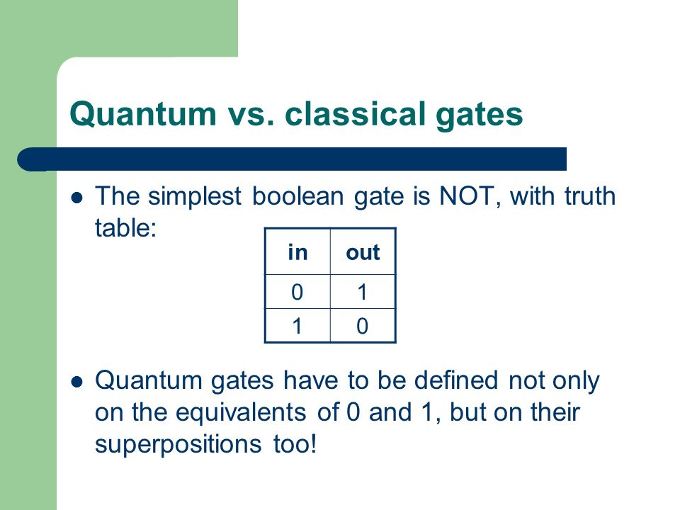 Quantum vs. classical gates