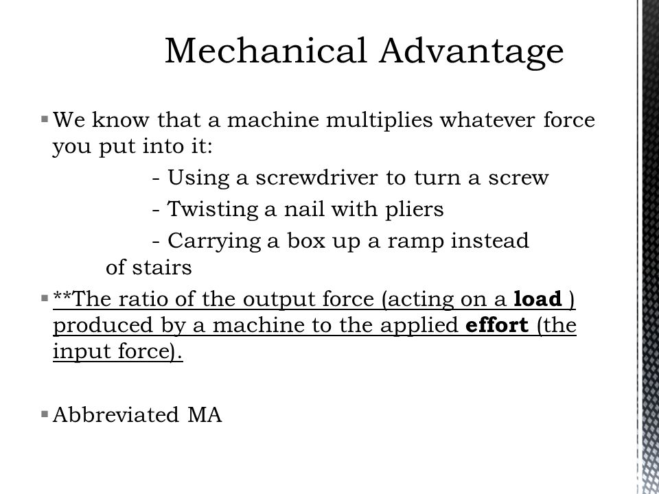 how to find the mechanical advantage of a screw
