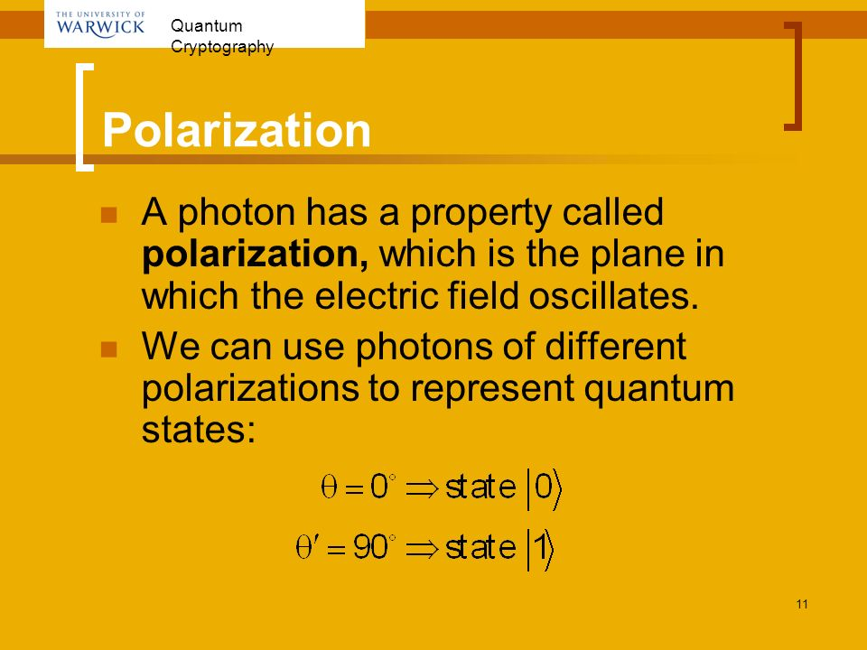 Polarization A photon has a property called polarization, which is the plane in which the electric field oscillates.