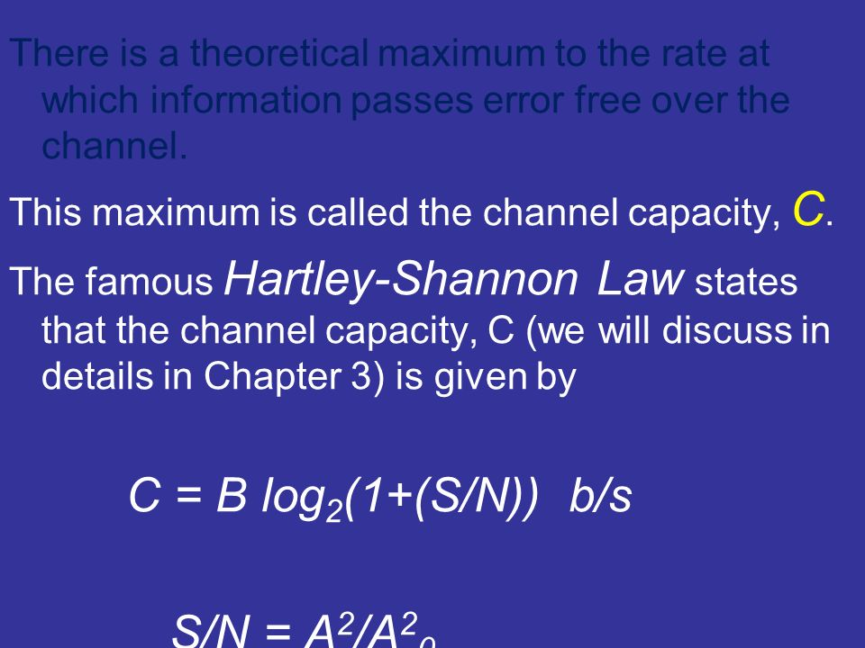 There is a theoretical maximum to the rate at which information passes error free over the channel.