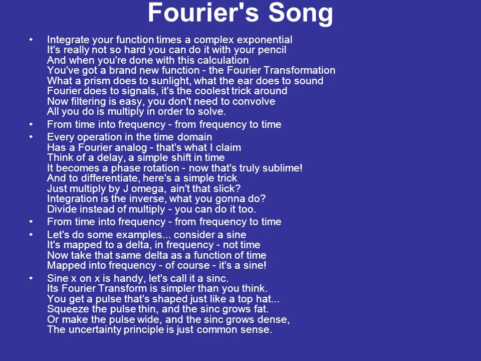 Fourier s Song