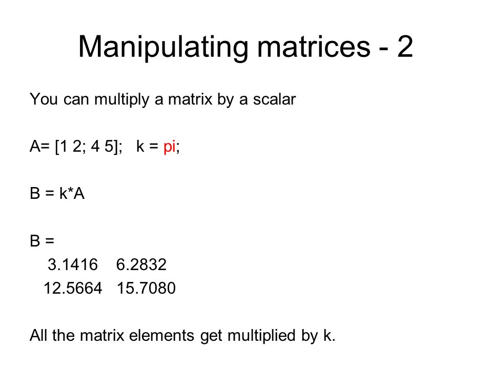 Manipulating matrices - 2