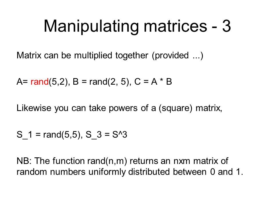 Manipulating matrices - 3