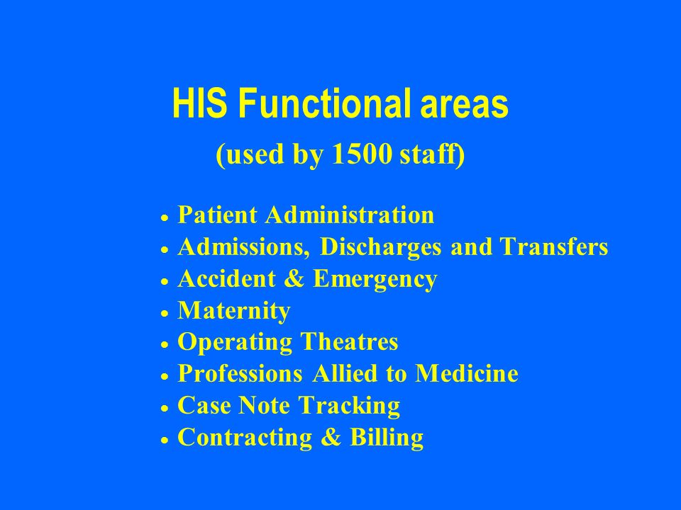 HIS Functional areas (used by 1500 staff) Patient Administration