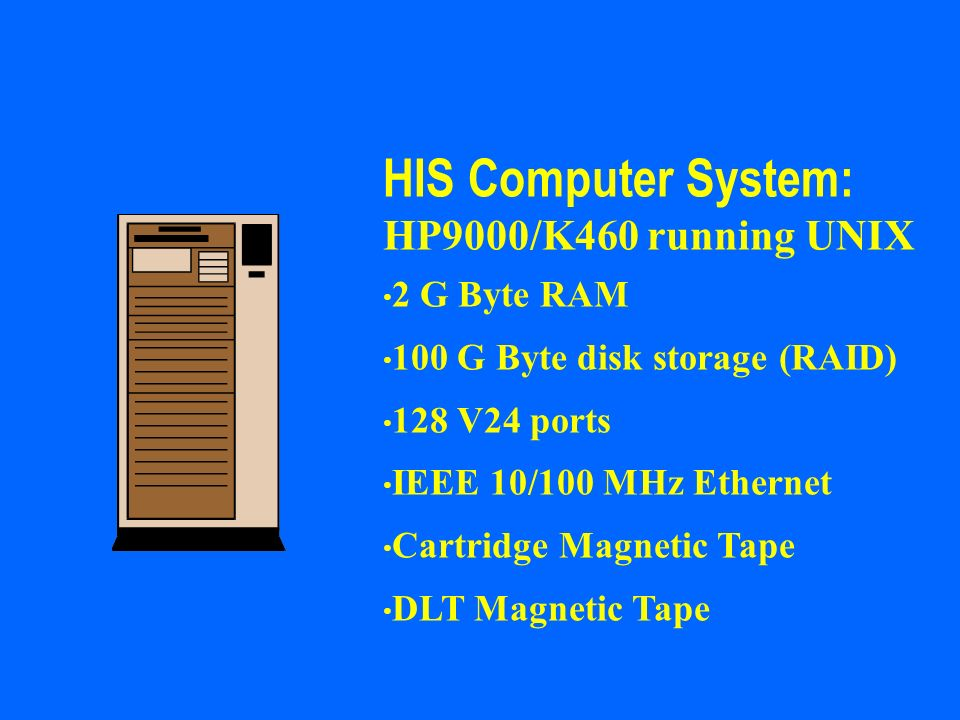 HIS Computer System: HP9000/K460 running UNIX 2 G Byte RAM
