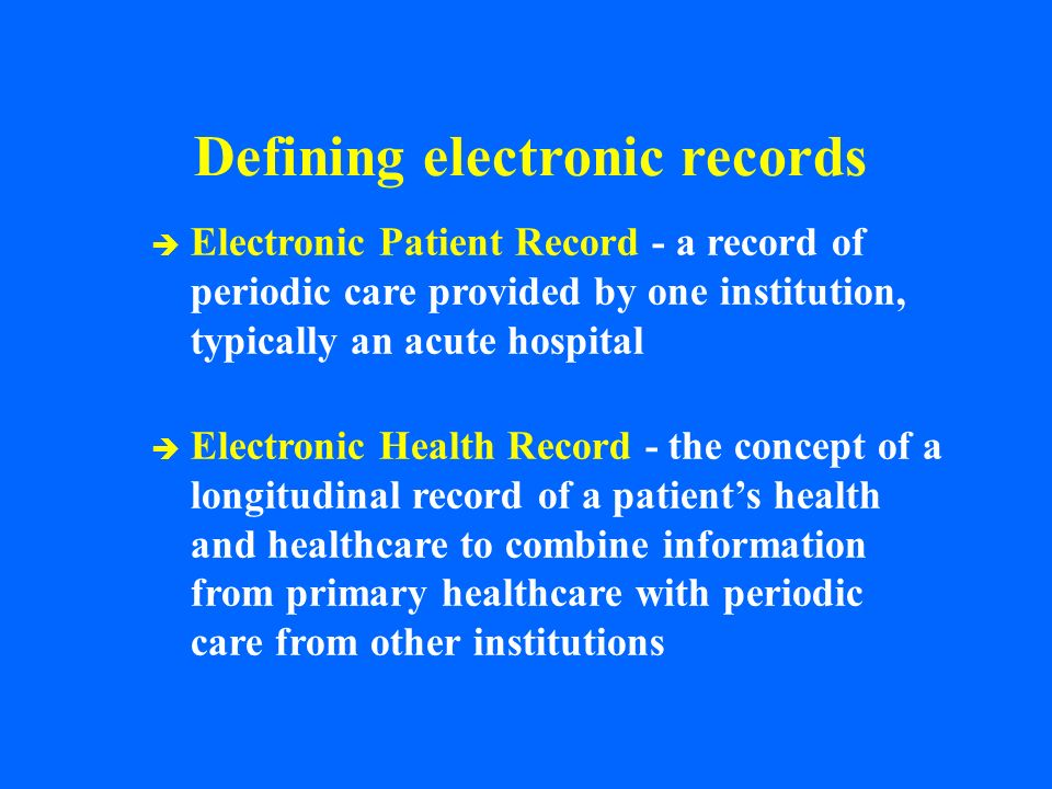 Defining electronic records