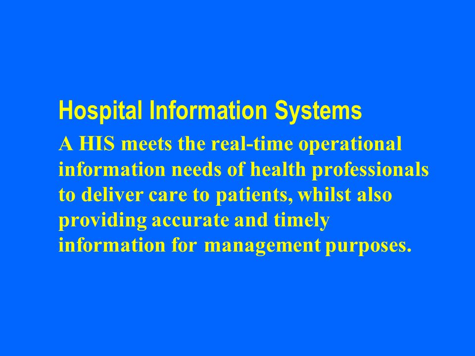 Hospital Information Systems