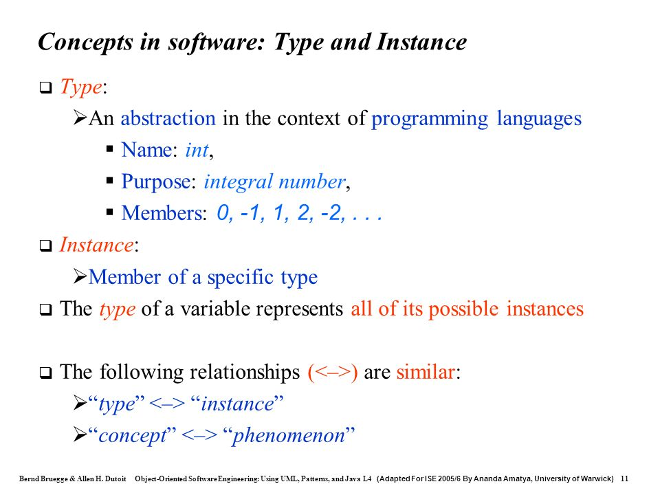 Concepts in software: Type and Instance
