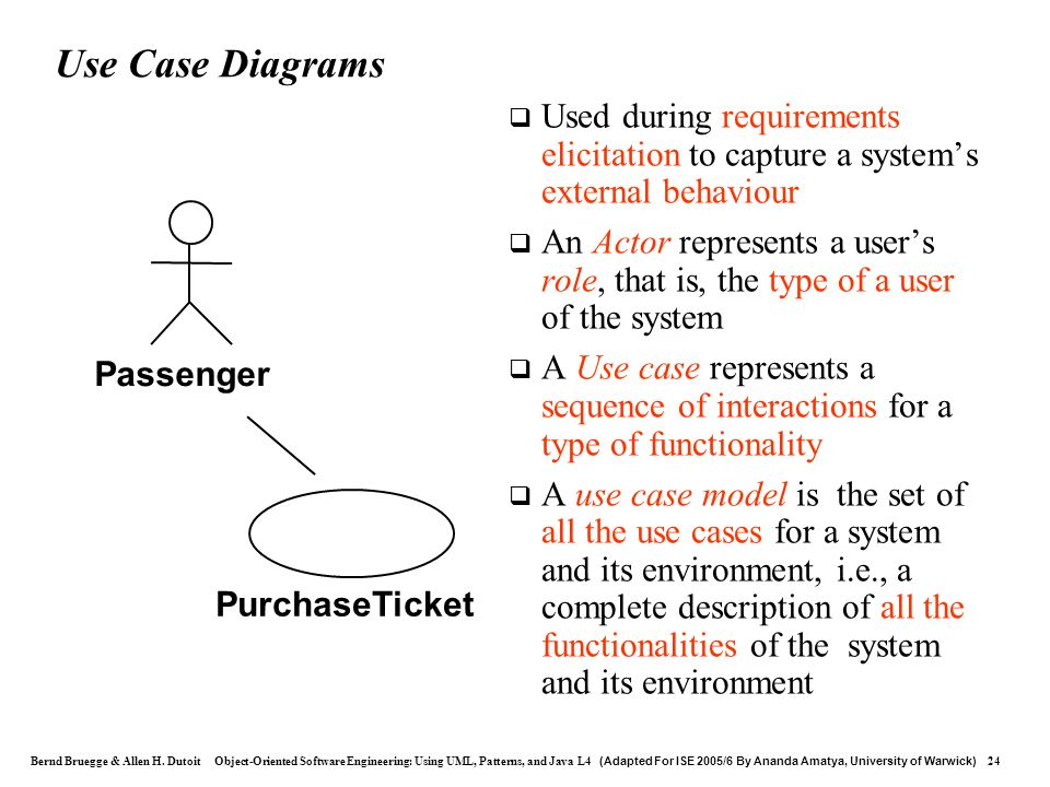 Use Case Diagrams Used during requirements elicitation to capture a system's external behaviour.