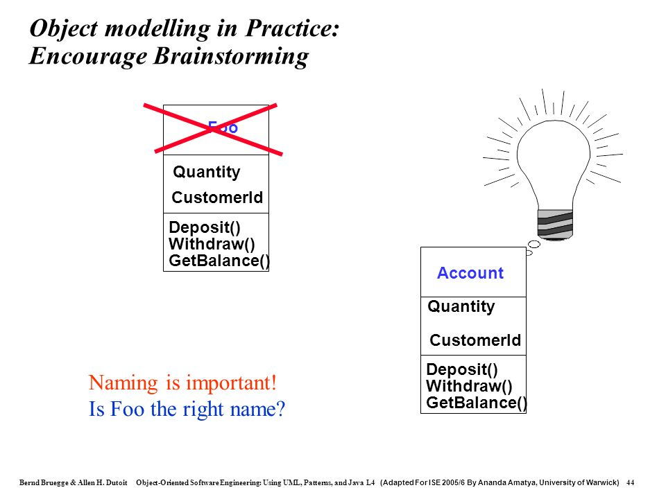 Object modelling in Practice: Encourage Brainstorming