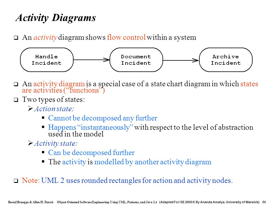 Activity Diagrams An activity diagram shows flow control within a system.