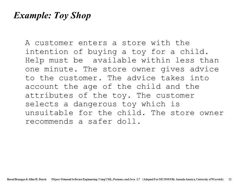 Example: Toy Shop