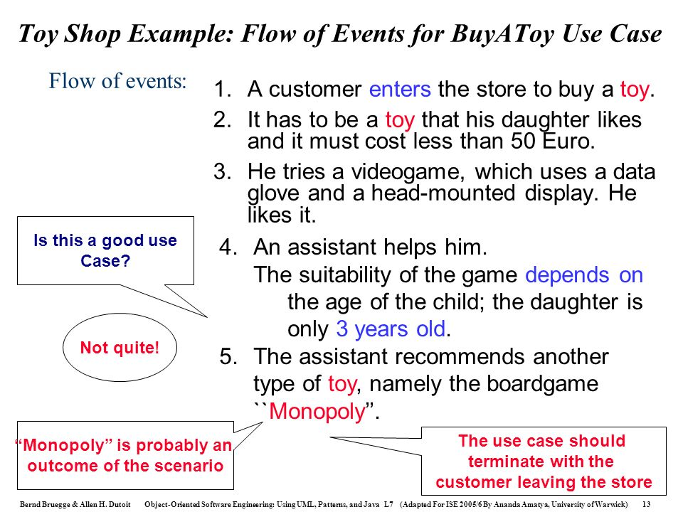 Toy Shop Example: Flow of Events for BuyAToy Use Case