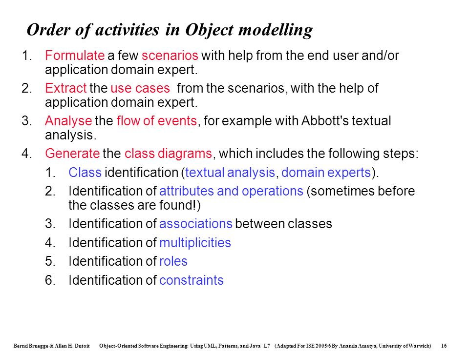Order of activities in Object modelling
