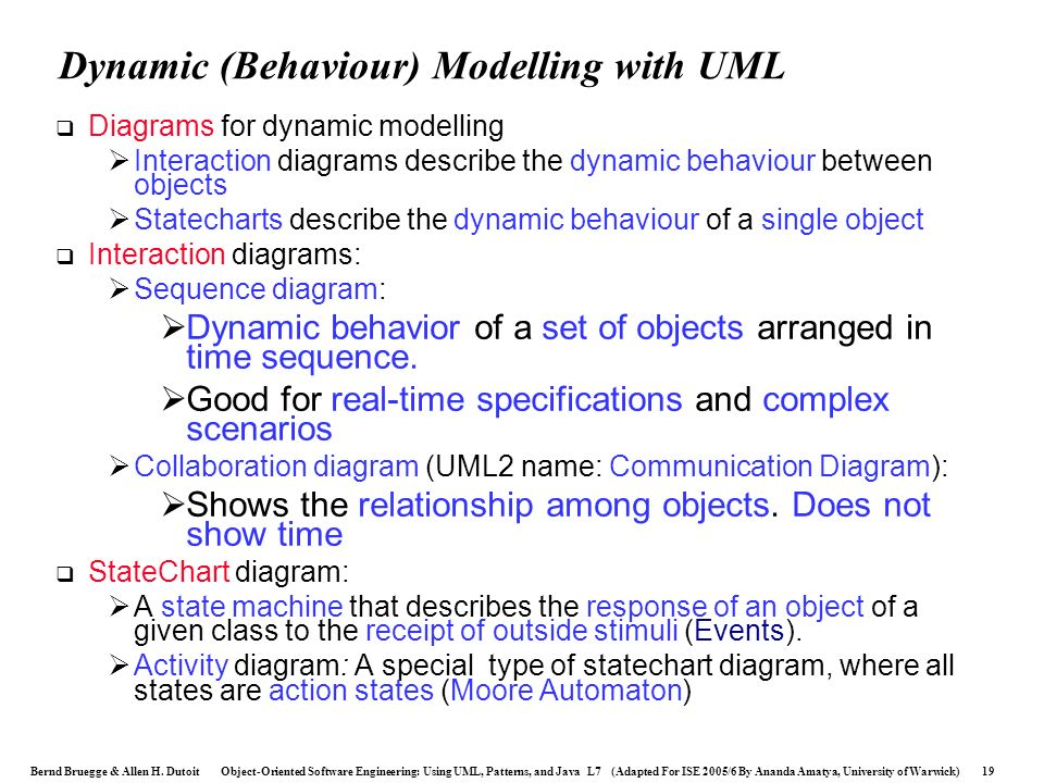 Dynamic (Behaviour) Modelling with UML