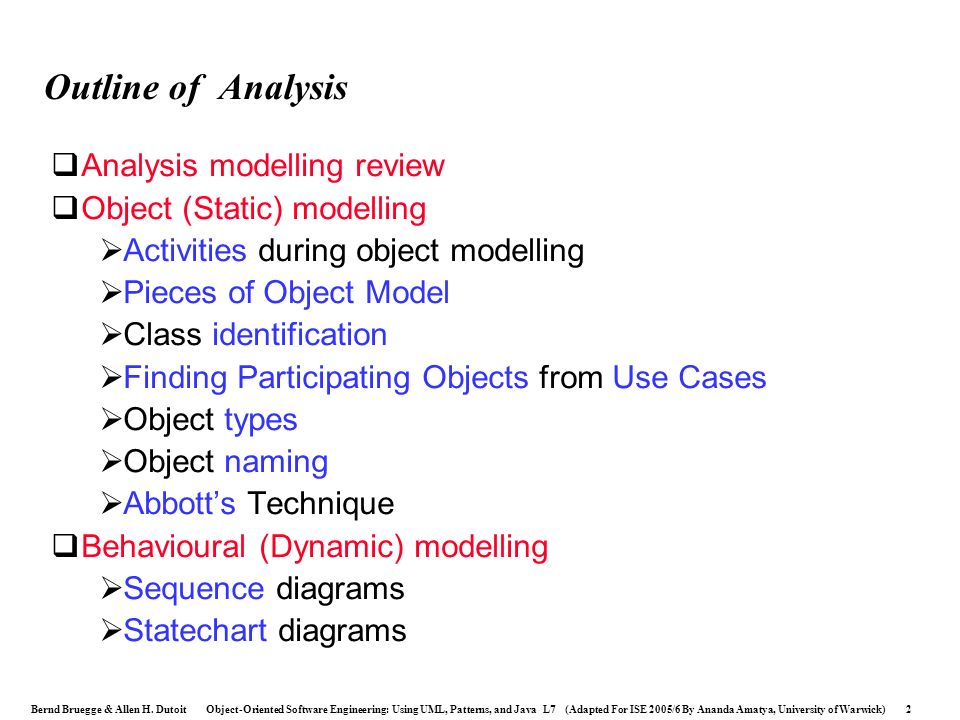 Outline of Analysis Analysis modelling review