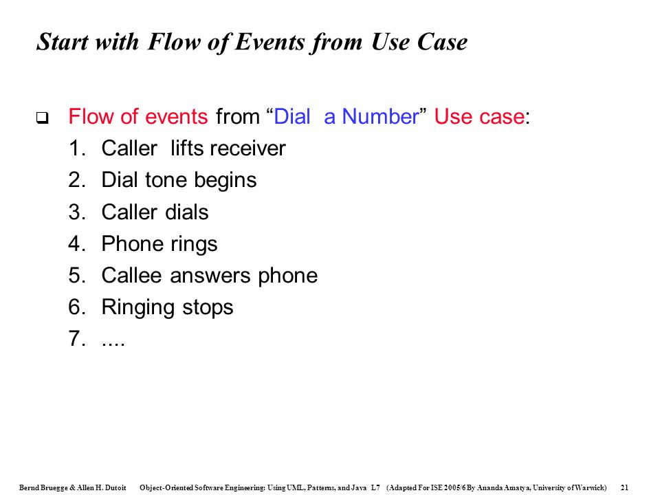 Start with Flow of Events from Use Case