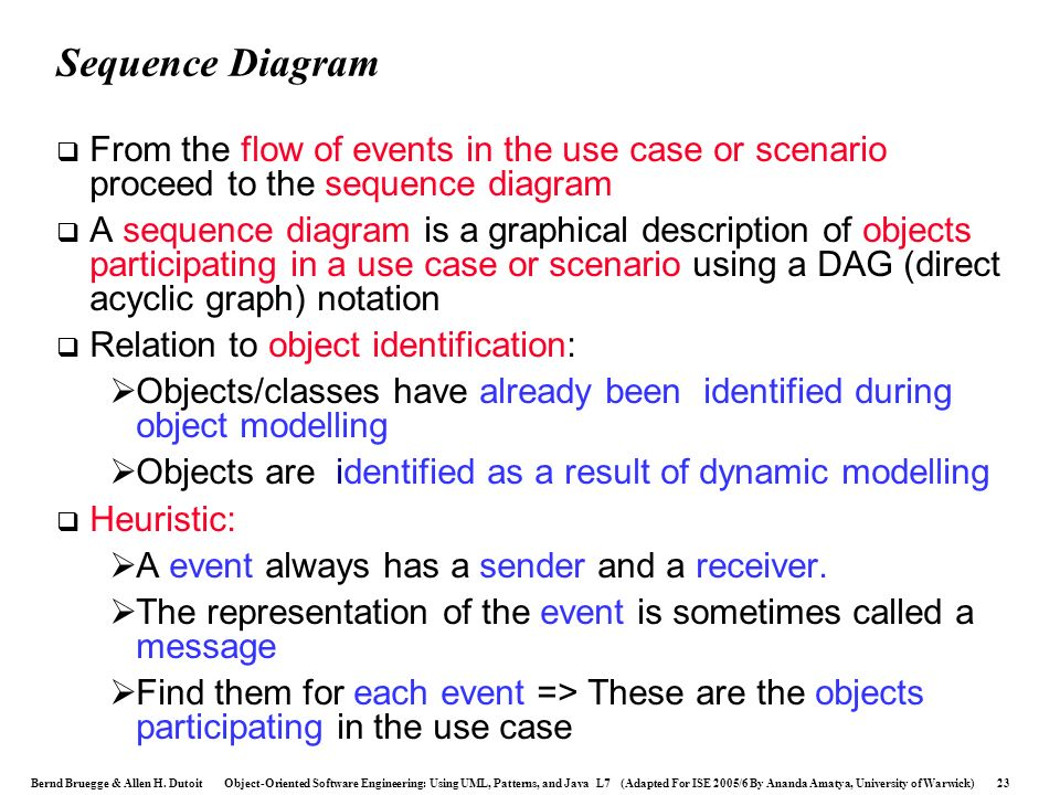Sequence Diagram From the flow of events in the use case or scenario proceed to the sequence diagram.