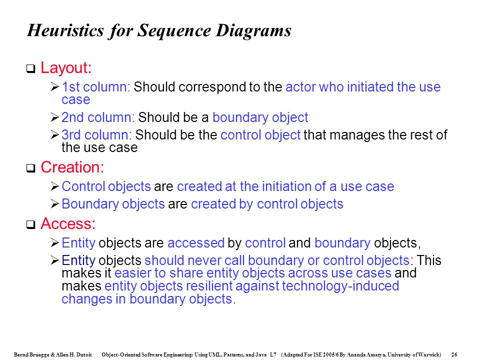 Heuristics for Sequence Diagrams