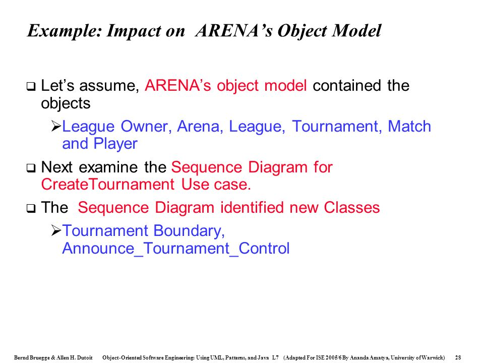 Example: Impact on ARENA's Object Model